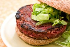 Quarter Pounder Beet Burger by IsaChandra: Brown rice, lentils and beets! #Beet_Burger #Vegan #IsaChandra