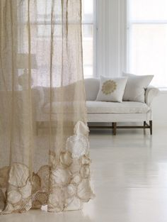 Great idea for a shower curtain- some tuille, some old lace and a little sewing machine time... I LOVE IT!