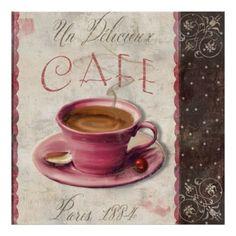 Café delicioso, café de París del vintage Impresiones