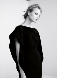 black informal design: cape dress | Fashion + Photography | Design: COS |