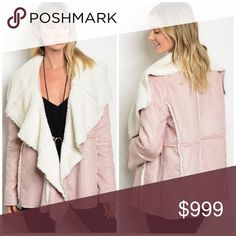 Blush Faux Suede Coat Faux suede with Sherpa lining and seam detail. Generous fit. Perfect for Fall. Content: 100% polyester. Jackets & Coats