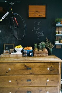A Chalkboard Wall and a Dresser in the Kitchen? It Really Works Here!