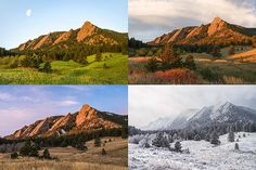 Four Seasons - The Flatirons   Collection of four images taken at the same location throughout the year at Chautauqua Park in Boulder, Colorado.  Spring, Early Fall, Late Fall, and Winter are represented.   aaronspong.com
