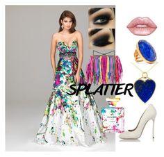 """SPLAT"" by rose-firstlady-thomas ❤ liked on Polyvore featuring Chanel, Dsquared2, Lime Crime, Katerina Makriyianni, Jennifer Meyer Jewelry and Sara Battaglia"