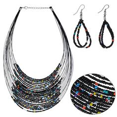 Temperament Black Beads Decorated Multilayer Design Alloy Jewelry Sets:Asujewelry.com
