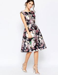Image 4 ofChi Chi London Allover Floral Midi Dress With Keyhole Back Detail