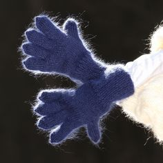 Blue Hand knitted mohair gloves soft ski winter hand warmers by SUPERTANYA #SuperTanya #WinterGloves
