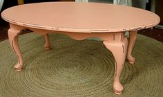 Vintage Coral Painted Queen Ann Style Coffee Table - for porch