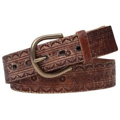 BKE Embossed Belt - Brown Small ($37) ❤ liked on Polyvore featuring accessories, belts, brown, bke belts, brown leather belt, embossed leather belt, leather belt and real leather belts