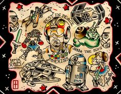 Tattoo flash of a Star Wars flash sheet I designed. This print is available on high quality paper and printed from Bloomington, IN.  Thanks for