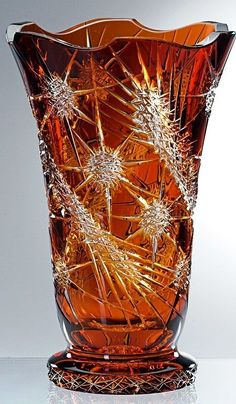 Bohemian Amber Cut Glass Thistle Vase