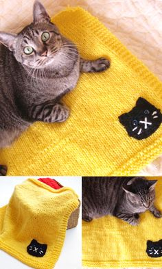 Cat blanket - free knit pattern (diagram), the cat's face is crocheted