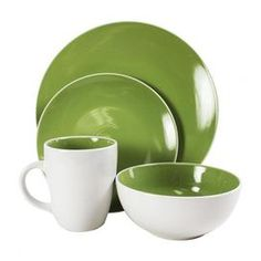 """Sixteen-piece earthenware dinner set in green. Includes service for four.  Product: 4 Dinner plates 4 Salad plates 4 Bowls 4 Mugs Construction Material: Stoneware Color: Green Dimensions:  Dinner Plate:10.5"""" each  Salad Plate: 7.87"""" Diameter each  Bowl: 5.75"""" Diameter each  Mug: 4"""" W each  Cleaning and Care: Microwave and dishwasher safe"""