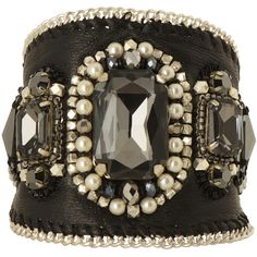 Buba London Daphne Leather Cuff (£38) ❤ liked on Polyvore featuring jewelry, bracelets, accessories, black, cuff, bead jewellery, buba, cuff jewelry, beaded jewelry and beading jewelry