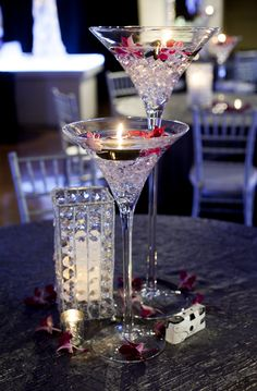 Martini glasses can be used as elegant and sophisticated centerpieces