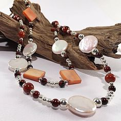 Spectacular fall colours in warm earthy tones have this long sterling silver necklace overflowing with all the best of the season! A double stranded front, pearls, poppy jasper and vintage shell beads feel just like a warm hug on a chilly fall day. Wire Earrings, Silver Hoop Earrings, Silver Pendant Necklace, Gemstone Necklace, Sterling Silver Necklaces, Statement Necklace Outfit, Or Antique, Artisan Jewelry, Earring Set