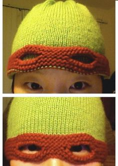 TMNT. Not free. I used this as an idea though. Made a basic beanie but brought it down farther than normal. Then made the red part but only connected it above the eyes in order to tie it in the back.