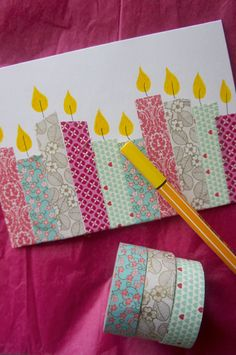 A washi tape birthday card