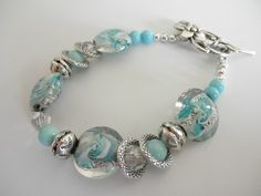 Turquoise Blue and Silver Lampwork Toggle Bracelet | jnldesigns - Jewelry on ArtFire