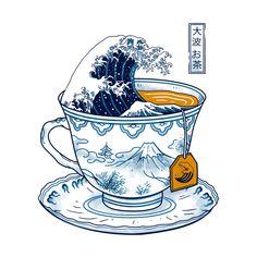The Great Kanagawa Tee Acrylic Box by Vincent Trinidad Art - 4 X 4 X 3 Framed Art Prints, Canvas Prints, Canvas Fabric, Canvas Art, Kunst Poster, Poster Poster, Japon Illustration, Coffee Illustration, Art Japonais