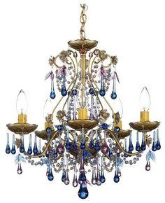 Schonbek Rose Blue Violet Crystal Chandelier - eclectic - chandeliers - Lamps Plus