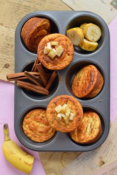 FIT MUFFINY BANANOWE BEZ LAKTOZY I GLUTENU | SMYKWKUCHNI Healthy Sweets, Healthy Snacks, Muffin Tin Recipes, Small Meals, Kitchen Recipes, Raw Vegan, Vegan Gluten Free, Clean Eating, Good Food