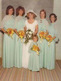 1980's wedding ~ sea foam green bridesmaids