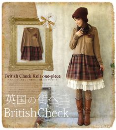 Japanese Forest Girl Style Patchwork Plaid Wool Coton Cardigan Sweate Faux Two Piece Dress Loose Long Sleeve Mori Girl Clothing