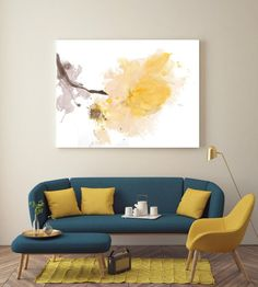 A light Touch. Floral Painting, Yellow White Floral Art, Large Abstract Colorful Contemporary Canvas Art Print up to by Irena Orlov - New Deko Sites Living Room Color Schemes, Living Room Designs, Living Room Decor Yellow Walls, Living Room Colors, Living Room Sofa, Home Living Room, Sofa Design, Colourful Living Room, Home Interior Design