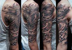 floral phoenix sleeve tattoo black - Google Search