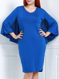 Sexy V-Neck 3/4 Sleeve Bodycon Solid Color Cape Dress For Women