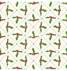 Seamless floral geometrical pattern with ilex vector - by svetolk on VectorStock®