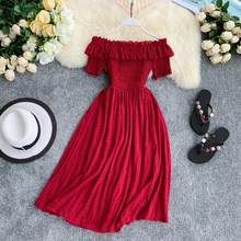 Women Summer Dresses Plaid Slash Neck Off Shouder Solid Vestidos 2019 Ruffles A-Line High Waist Dress Robe Femme 11767 Pretty Dresses, Women's Dresses, Casual Dresses, Awesome Dresses, Dresses Online, Formal Dresses, Dress Outfits, Draped Dress, Ruffle Dress