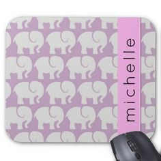 Your Name - Troop Of Elephants - Gray Purple Pink Mouse Pad - pink gifts style ideas cyo unique