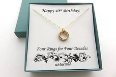 40th Birthday Gifts for Women Gold Filled Necklace 40th