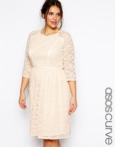 ASOS CURVE Exclusive Skater Dress In Lace With Grosgrain Ribbon Detail In Longer Length