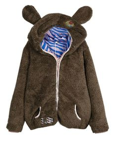 Letters Embroidery Ear Hooded Fluffy Coat