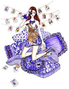 Polaroid Girl, inspired by Just Cavalli Resort Illustration by Sunny Gu. Beauty Illustration, Illustration Artists, Photo Illustration, Vogue Fashion, Fashion Beauty, Fashion Photo, Fashion Artwork, Fashion Sketches, Fashion Illustrations