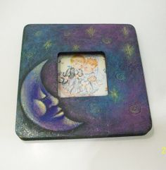 Handpainted Man In The Moon Picture Frame...beside picture, verse, or blessing