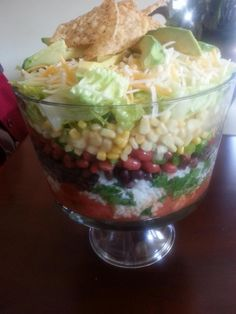 Twylas Southwestern Salad use trifle dish. layer 1/2 c salsa on bottom w/fresh 1 c chopped tomato on top, add 2 c. cooked & cooled white rice w/1 tbs. oil and cilantro to your taste mixed together, layer1 can kidney beans & 1 can black beans,  drained & rinsed,  1 sm bag frozen white corn, thawed, 2 bunches green onions, 1 jalapeno chopped,1-2 chopped romaine stalks, 1 bag white cheddar cheese (I used white & yellow) fresh avocado sliced on top, chips to granish. Ranch or chipolte ranch dressing