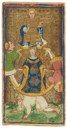 The Wheel of Fortune  | Visconti-Sforza Tarot Cards | 1450-1480 | Morgan Library & Museum | Museum #: MS M.630 (no. 1)