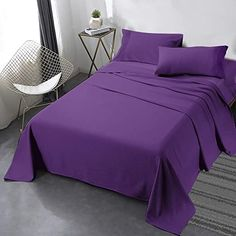 Purple bedding sheet sets included one flat sheets, one fitted sheets and two purple color pillowcases. #purplecottonbeddingsheets #beddingsheetspurple #purplesheetsets #cottonsheetsets Purple Bed Sheets, Purple Bedding, Queen Bed Sheets, Queen Beds, Cotton Sheet Sets, Bed Sheet Sets, Flat Sheets, Fitted Sheets, Luxury Sheets