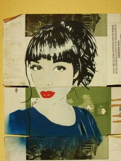 Cynthia #stencil #portrait #girl #cardboard