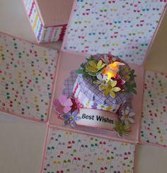 kathysue. exploding box birthday cake tea light candle