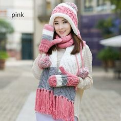 Women ear flap hat hat scarf and gloves set for winter