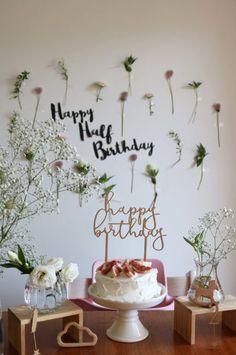 birthday for him Happy Half Birthday, Birthday Party At Home, Baby Girl Birthday, Birthday Diy, 1st Birthday Girl Decorations, Birthday Clipart, Festa Party, First Birthdays, Rose Gris