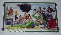 Vintage original 1988 Marvel Comics 34 x 22 She-Hulk poster 1: 1980's/Jusko art. SEE 1000's MORE RARE VINTAGE MARVEL AND DC COMICS SUPERHERO POSTERS AND COMIC BOOK ART PAGES FOR SALE AT SUPERVATOR.COM