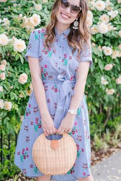 Floral Embroidered Shirtdress for Spring | Round Wicker Basket Bag