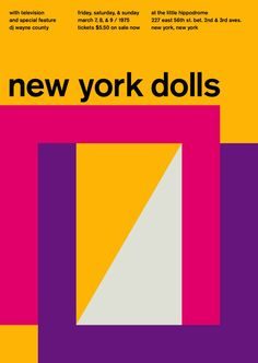 New York Dolls at the Little Hippodrome, New York Support from Television. Reimagined concert poster by designer Mike Joyce for his Swissted project, fusing rock music & swiss modernist design. Vintage Graphic Design, Graphic Design Inspiration, Mike Joyce, Blog Art, Swiss Style, Swiss Design, Rock Posters, Band Posters, Music Posters