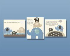 Nursery art, baby nursery decor, nursery wall art, Blue cream / Nursery print set 3 8x10 // Bradley PBK, no one, first we had, moon and bac on Etsy, $50.00